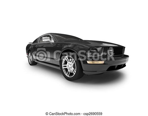 Isolierte schwarze Autofront Aussicht 01 - csp2690559