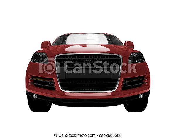 01, auto, vrijstaand, voorkant, rood, aanzicht - csp2686588