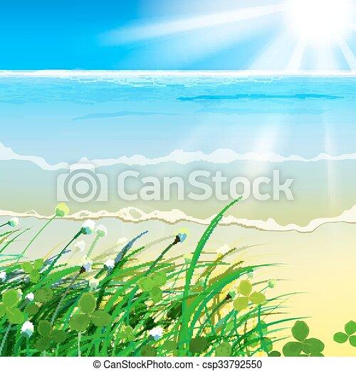 01, gras, zee, paradijs - csp33792550