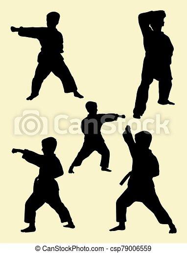 01., karate, geitjes, silhouette - csp79006559