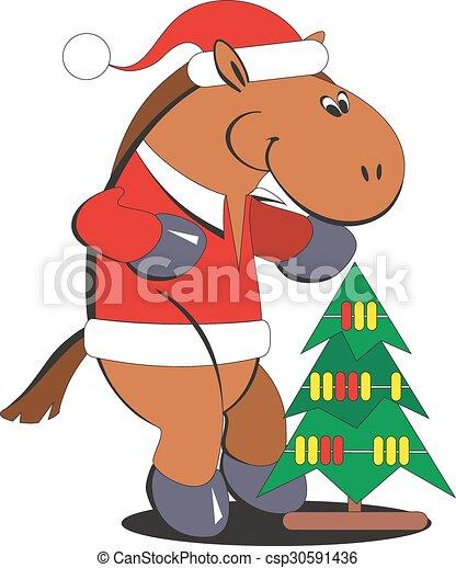 010 pferd baum weihnachten karikatur vektoren suche. Black Bedroom Furniture Sets. Home Design Ideas