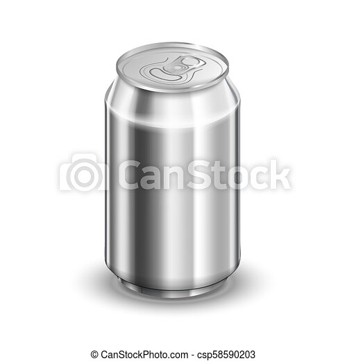 0,33 liter glossy aluminum can, soda or beer template on white - csp58590203