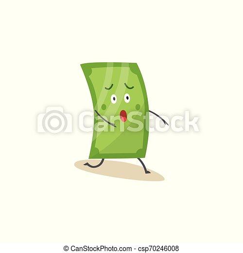 1(人・つ), 膝, 地位, スタイル, 緑, 衝撃を与えられた, 漫画, ドル, 特徴 - csp70246008