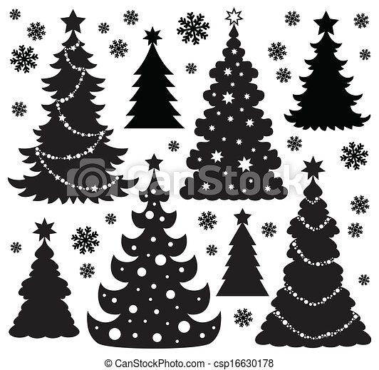 1, árbol, tema, silueta, navidad - csp16630178