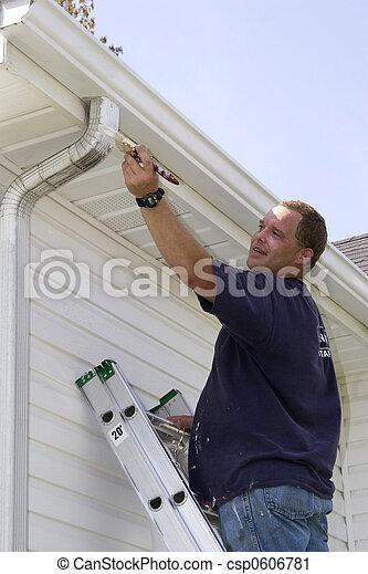 1, összehúz, kívül, szobafestő, dolgozó - csp0606781