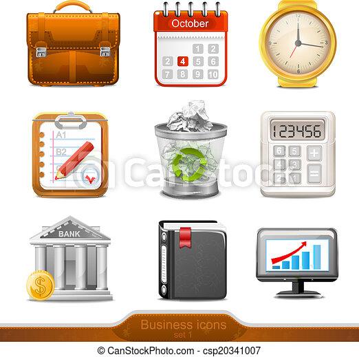 1, セット, ビジネス, ベクトル, アイコン - csp20341007