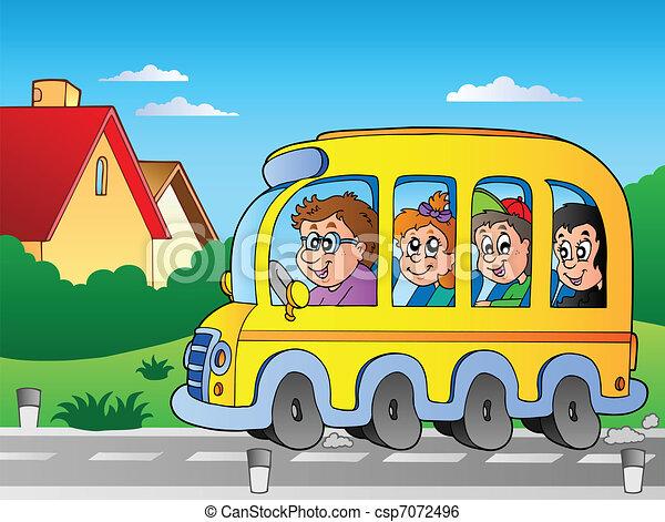 1, バス, 学校, 道 - csp7072496