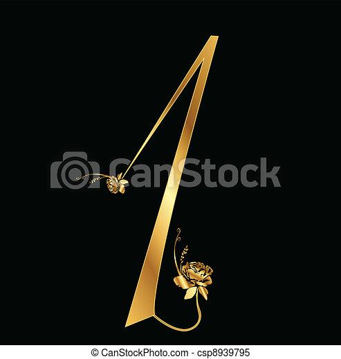 1, バラ, 数, 金 - csp8939795