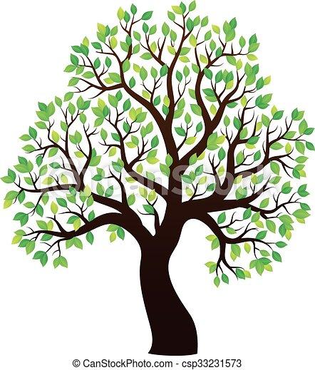 1, 樹, 主題, 覆有葉, 黑色半面畫像 - csp33231573