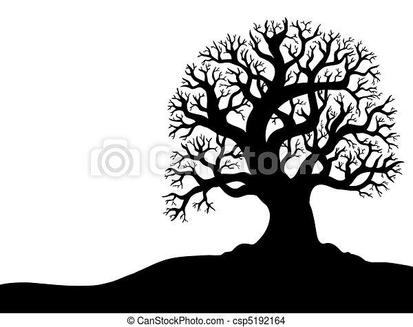 1, 樹, 沒有, 黑色半面畫像, 葉子 - csp5192164