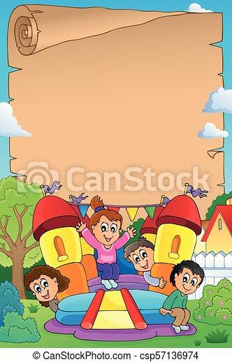 1, 膨らませることができる, 子供, 城, 羊皮紙 - csp57136974