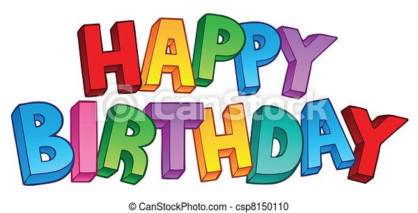 1, 크게, 생일, 행복하다, 표시 - csp8150110
