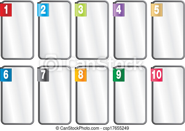 1-10 number frames. Suitable for user interface.