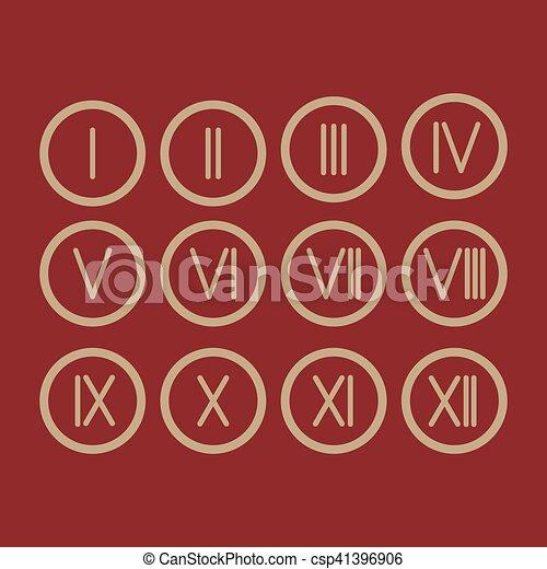 1 12 Números Romano Conjunto Icono Números Conjunto Romano