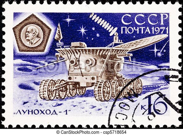 1, 17, transmitir, lunokhod, tierra, moon., espalda, análisis, (???????, 322, ), hacendado, días, cuadros, operado, noviembre, luna, 1970 - csp5718654
