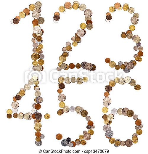 1-2-3-4-5-6 alphabet letters from the coins - csp13478679