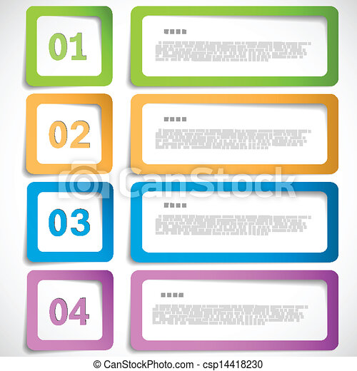 1-2-3-4 option - paper frames template eps10 vector illustration.