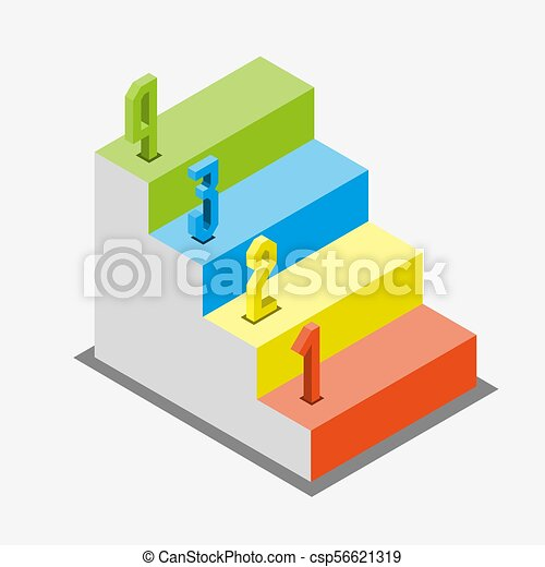 1 2 3 Steps Stair Isometric View Infographic Concept Vector Eps 10