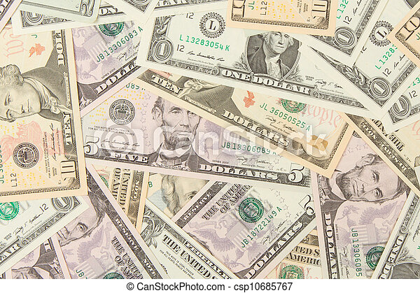 1, 5, 10 and 20 US Currency  - csp10685767