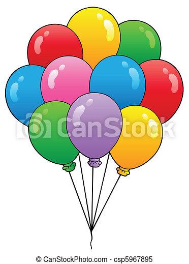 1, ballons, groep, spotprent - csp5967895