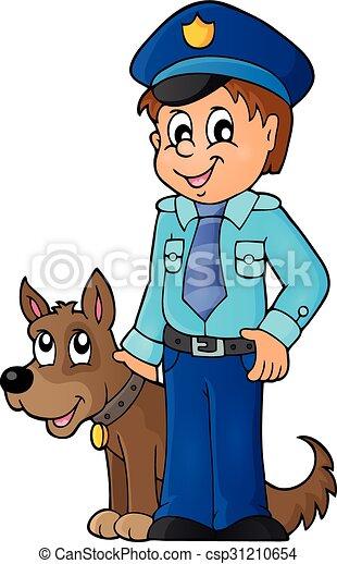1, beeld, dog, conducteur, politieagent - csp31210654