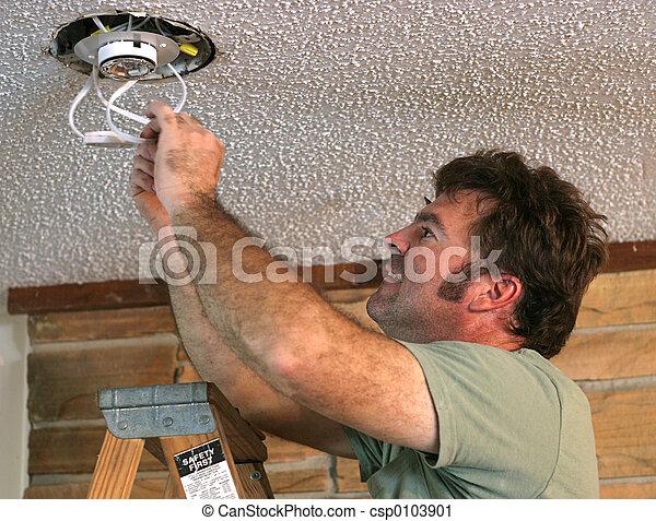 1, beleuchtung, installation. Seine, elektriker, licht ...