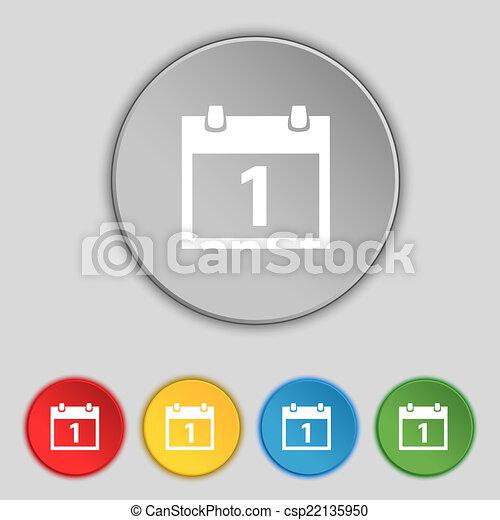 1, button., セット, シンボル。, 月, ボタン, ベクトル, 日付, カレンダー, 印, カラフルである, icon., 日 - csp22135950