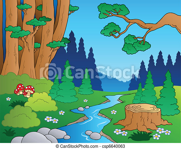 El paisaje forestal Cartoon 1 - csp6640063