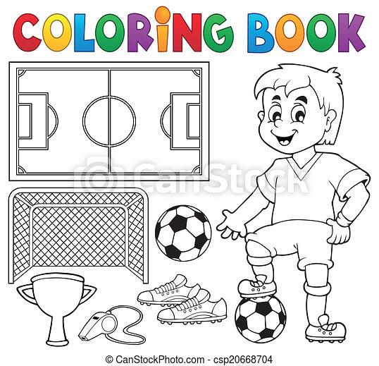 Tema de fútbol del libro de color 1 - csp20668704