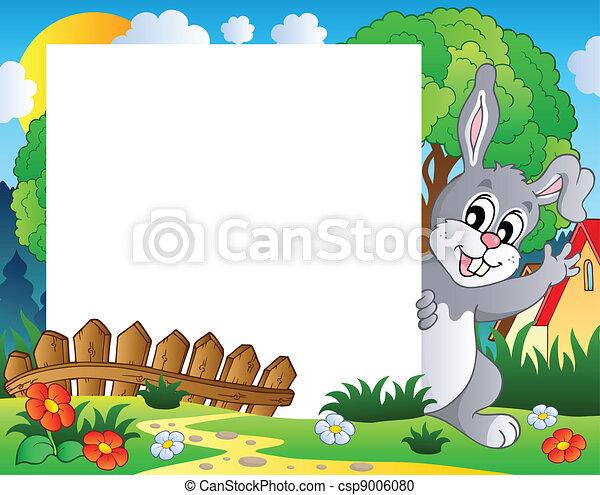 1, cornice, pasqua, tema, coniglietto - csp9006080