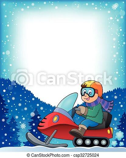 1, cornice, tema, snowmobile - csp32725024