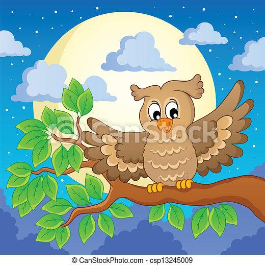 1, coruja, tema, imagem - csp13245009