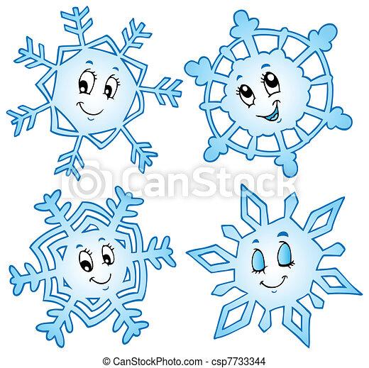 1, dessin animé, collection, flocons neige - csp7733344