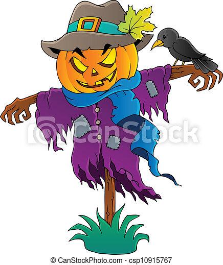 1, dia das bruxas, tema, espantalho, imagem - csp10915767