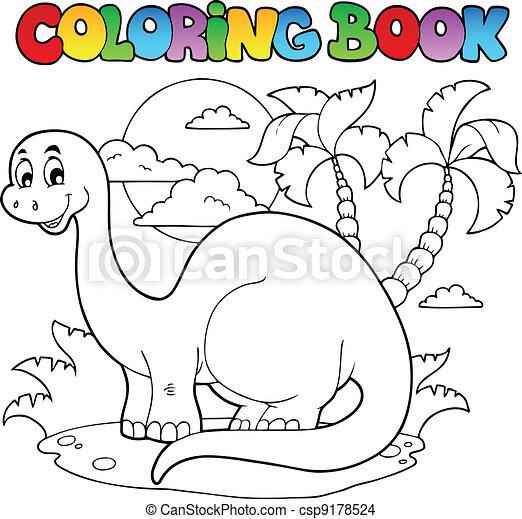 La escena del dinosaurio de color 1 - csp9178524
