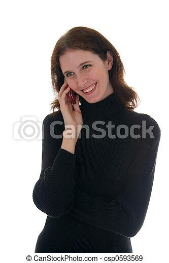 1, donna, camicia, parlare, telefono cellulare, nero - csp0593569