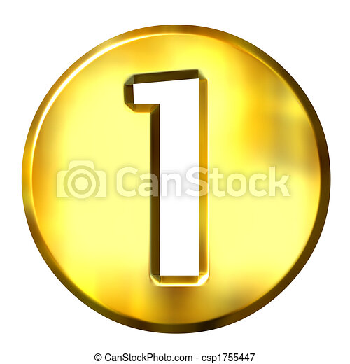 1, doré, 3d, nombre, encadré - csp1755447