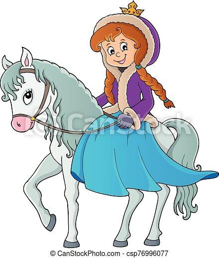 1, equitación, invierno, caballo, princesa - csp76996077