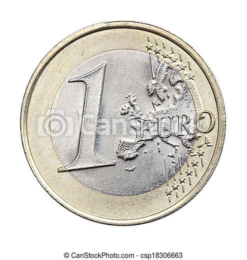 1 euro isolated - csp18306663