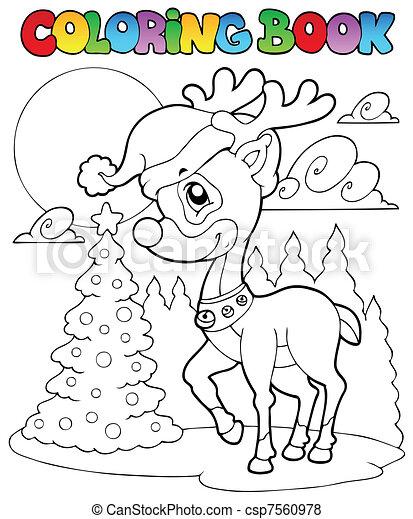 1, färbung, hirsch, buch, weihnachten. Färbung,... Vektor - Suche ...