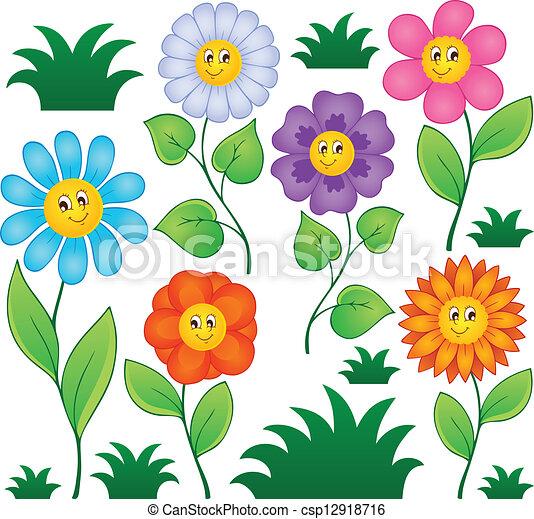 1, fleurs, dessin animé, collection - csp12918716