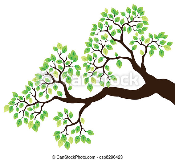 Baumzweig mit grünen Blättern - csp8296423