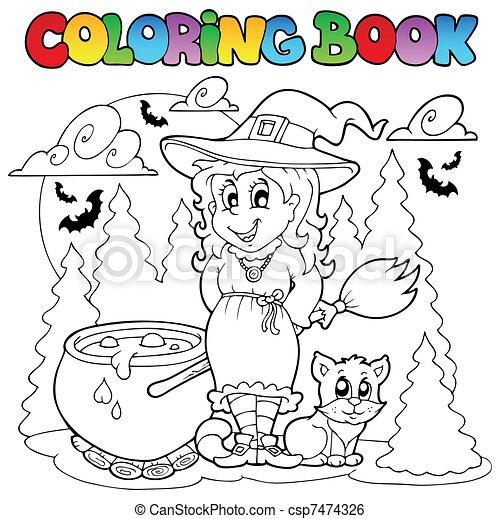 1, halloween, färbung, zeichen, buch. Färbung,... Clipart Vektor ...