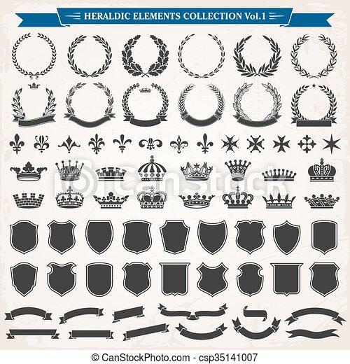 1, heraldic, 要素, セット - csp35141007