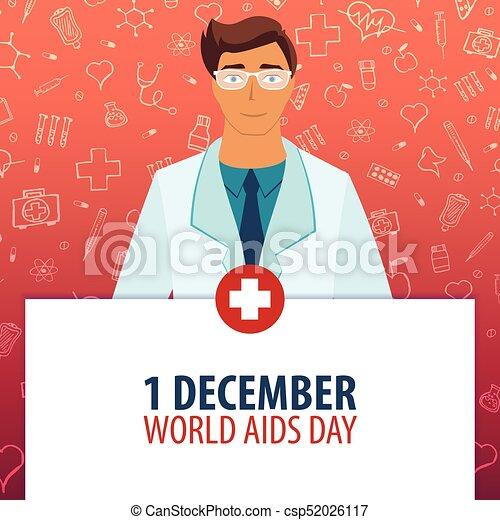 1 Desember. Welthilfstag. Medizinischer Feiertag. Vector Medizin Illustration. - csp52026117