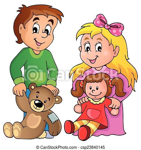 1, imagem, crianças, tema, brinquedos - csp23840145