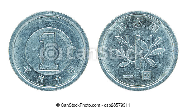 1 japanese yen coin isolated on white - csp28579311