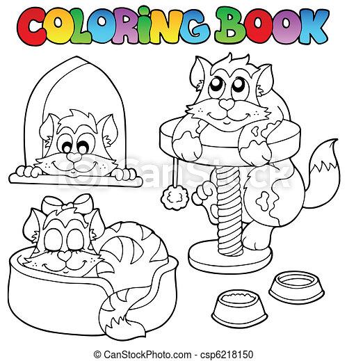 1, katzen, färbung, verschieden, buch. Färbung,... Vektor Clipart ...