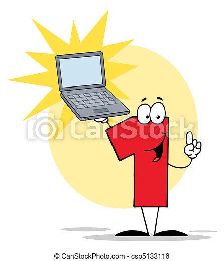 1, laptop, carattere, numero, presa a terra - csp5133118