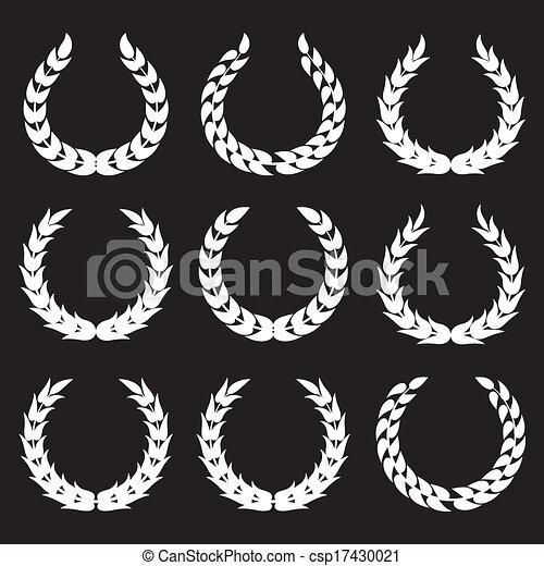 1, laurier, blanc, couronnes - csp17430021
